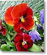Red Flower In Grass Metal Print