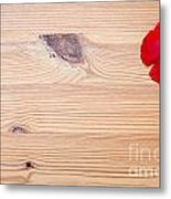Red Flower On Wood  Metal Print