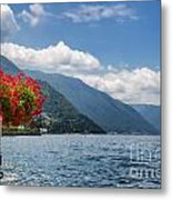 Red Flowers By Lake Como Italy Metal Print by Anna-Mari West
