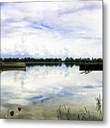 Red Flowers By The Lake. Metal Print