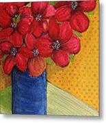 Red Flowers In A Blue Vase Metal Print