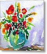 Red Flowers In A Vase Metal Print
