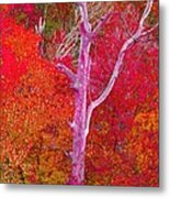 Pink Tree In A  Red Forest Metal Print
