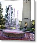 Red Fountain And Hoover Tower Stanford University Metal Print