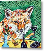 Red Fox At The Wine Bar Metal Print by Jay  Schmetz