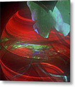 Red Fractal Bowl With Butterfly Metal Print
