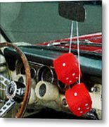 Red Fuzzy Dice In Converible Metal Print