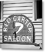 Red Garter Key West - Square - Black And White Metal Print