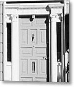 Red Georgian Door With Brass Letterbox Door Knob And Knocker In Dublin Metal Print