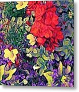 Red Geranium With Yellow And Purple Flowers - Horizontal Metal Print