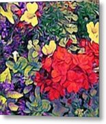 Red Geranium With Yellow And Purple Flowers - Vertical Metal Print