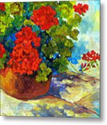 Red Geraniums I Metal Print