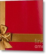 Red Gift Background With Gold Ribbon Metal Print