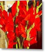 Red Glads Blooming Metal Print