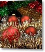 Red Gold Green Christmas Metal Print