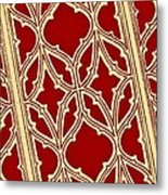 Gothic Pattern On Red Metal Print