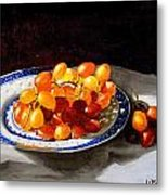 Red Grapes On Chinese Dsh Metal Print