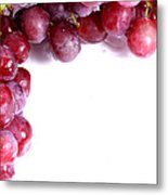 Red Grapes With White Copy Space Metal Print