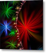 Red Green And Blue Fractal Stars Metal Print