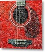 Red Guitar Center - Digital Painting - Music Metal Print