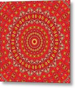 Red Gum Flowers Mandala Metal Print