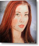 Red Hair And Blue Eyed Beauty With A Beauty Mark II Metal Print