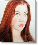 Red Hair And Blue Eyed Beauty With A Beauty Mark Metal Print