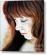 Red Hair And Freckled Beauty II Metal Print