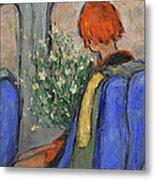 Red-haired Girl On A Sydney Train Metal Print