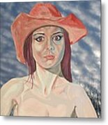Red Hat Girl  Metal Print by Roger Medcalf