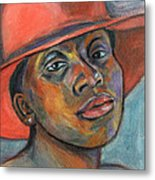 Red Hat Lady Metal Print by Xueling Zou