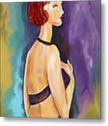 Red Headed Woman Metal Print