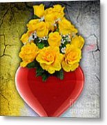 Red Heart Vase With Yellow Roses Metal Print