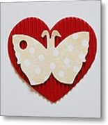 Red Heart With Butterfly Metal Print