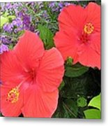 Red Hibiscus And Purple Blossoms Metal Print