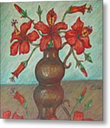 Red Hibiscus With Blue Background Metal Print by Claudia Cox