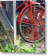 Red Hippie Bike Front Wheel Metal Print
