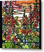Stained Glass Tiffany Red Hollyhocks In Landscape In Watercolor Metal Print