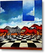 Red Horses With Zebra Metal Print
