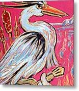 Red Hot Heron Blues Metal Print