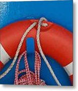 Red Life Belt On Blue Wall Metal Print