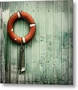 Red Life Saver Rescue Floatation Metal Print