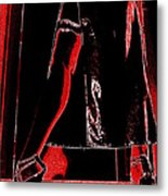 Red Light Black Dress Metal Print