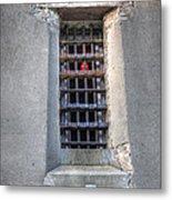 Red Light Jail Window Metal Print