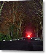 Red Light, Smoke And Flames Glowing Metal Print