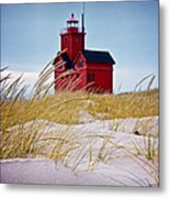 Red Lighthouse By Holland Michigan Known As Big Red Metal Print