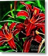 Red Lilies Expressive Brushstrokes Metal Print