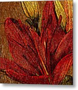 Red Lily Gold Leaf Metal Print