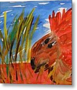 Red Lion In Tall Yellow Grass Metal Print
