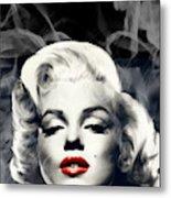 Red Lips Marilyn In Smoke Metal Print